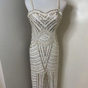Scala white beaded gown SZ 6